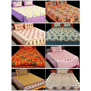 jaipuri print 100 cotton 4 double 4 single bed sheets with 12